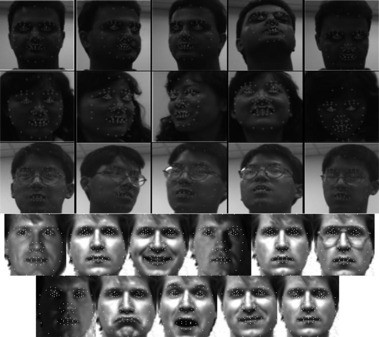 Facial landmarks detection on Honda/UCSD and Yale database.