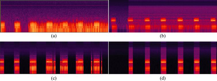 Spectra of signals: (a) original speech with babble noise, (b) original speech with white noise, (c) result of the proposed method application to speech with babble noise, (d) result of the proposed method application to speech with white noise.