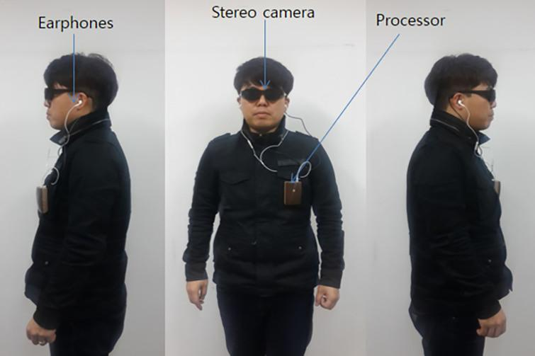 Components of Visual System on a user. The chest has the main system; earphones and stereo camera (in the pair of glasses) are also present.