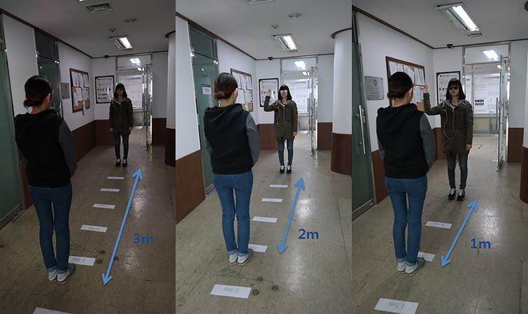 Experiment to determine distance from 50 cm to 3 m while wearing Visual System.