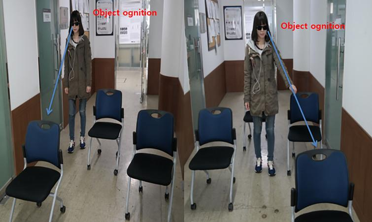 Subject wearing Visual System and passing obstacles while being aware of the objects.