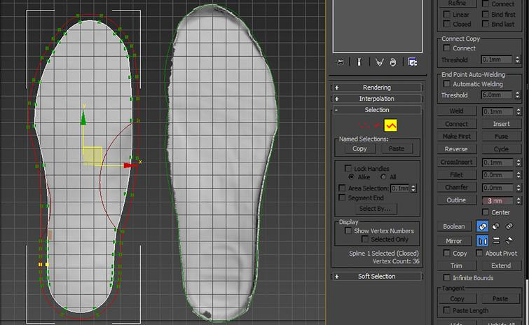 Patient's insole model file (B.max).