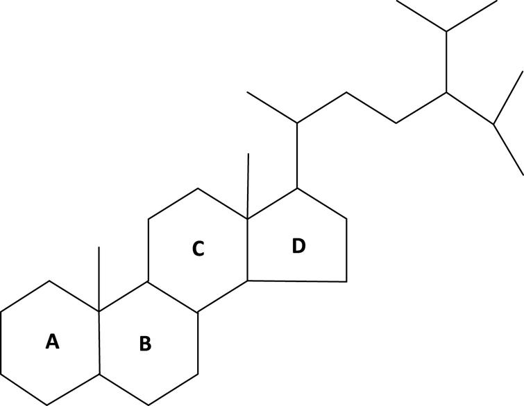 C30-desmethylsteranes. Note: C-24 isopropyl side chain, no double bonds and loss of 3ß-hydroxyl moiety. Adapted from Love et al. [1]. Molecule derived from demosponges over 635 million years ago (MYA).