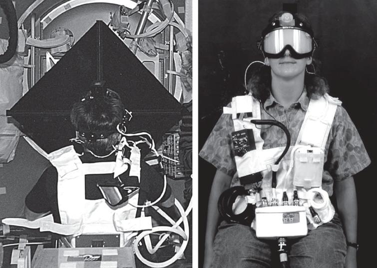 Left. Photograph showing a crewmember performing the experiment on board the Space Shuttle. The rate sensors housing unit is seen on the top of subject's head. Directly in front of the subject is the cruciform target display used for head and eye calibrations, and for the presentation of the central target during head oscillations. Right. Photograph showing the head-mounted laser for head position calibration and the goggles that can occlude the subject's vision. The black box is the controller used by the operator to control the visual display, the goggles occluding, and the cassette tape recorder that plays the frequency-modulated tones used for pacing the head oscillations. Photos credit: NASA.