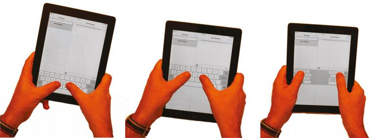 Using two hands to operate a tablet to type on the keyboard is often associated with wrist extension, wrist ulnar deviation, and extension of the thumb joints. Moving the keyboard up into the middle of the tablet (middle) and using the split keyboard function (right) improves postures and comfort.