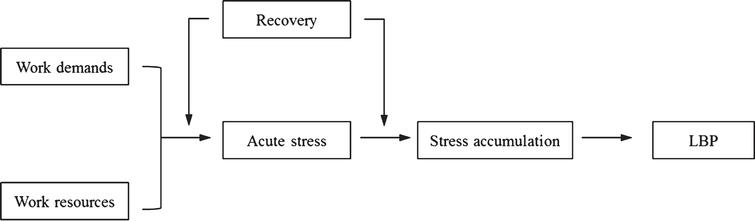 "The role of recovery for BP prevention and rehabilitation in the work context. Adapted from ""The influences of recovery on low back pain development: A theoretical model,"" by T. Mierswa and M. Kellmann, 2015, International Journal of Occupational Medicine and Environmental Health, 28, p. 258. doi: 10.13075/ijomeh.1896.00269."