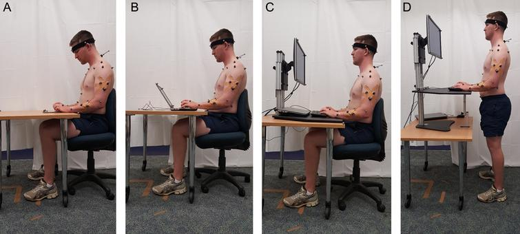 Device placement for each experimental condition: (A) tablet, (B) laptop, (C) desktop, sitting, and (D) desktop, standing, with retro-reflective marker configuration.