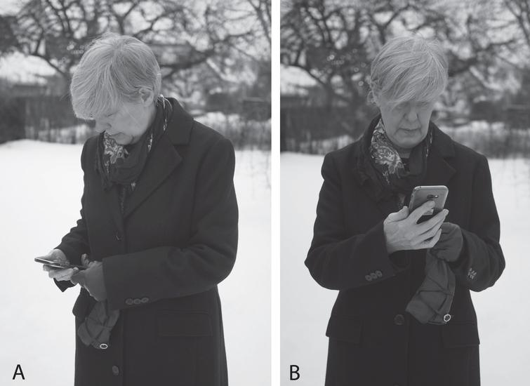 (A) A head-turned and head flexed forward posture is commonly adopted when using a smartphone. (B) A better posture is to hold the device directly STRAIGHT in front of you (so that your head is not turned to the side). It is easier to focus on the display when it is located DOWN below eye height, but not too low (so that you don't flex your head forward as much).