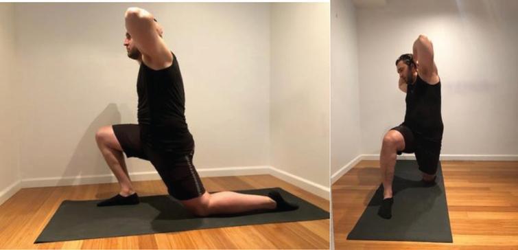 Iliopsoas/hip flexors free standing stretch.