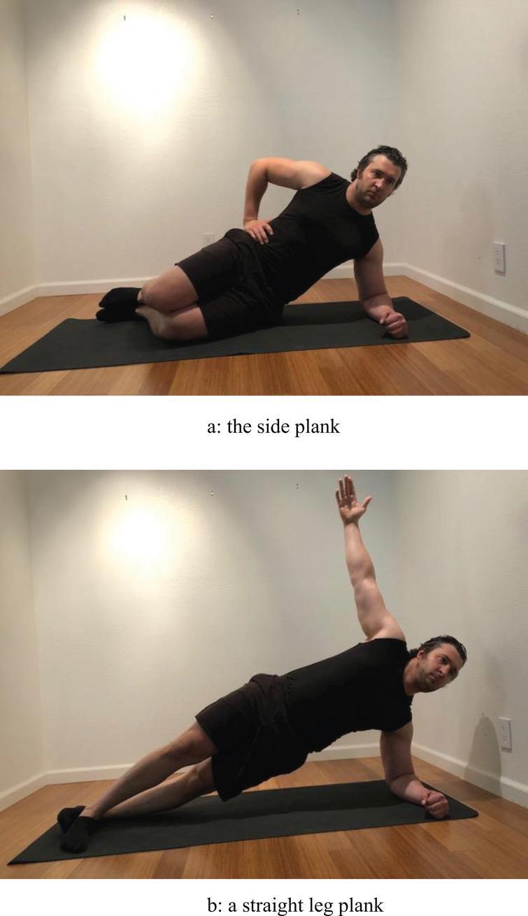 a) The side plank. b) A straight leg plank.