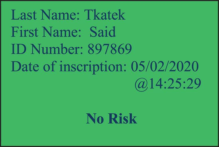 Green flag: Person with a very low risk infection of COVID-19.