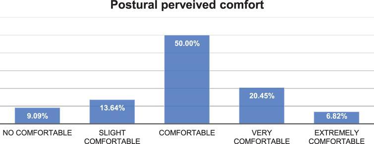 Postural perceived comfort for professors.