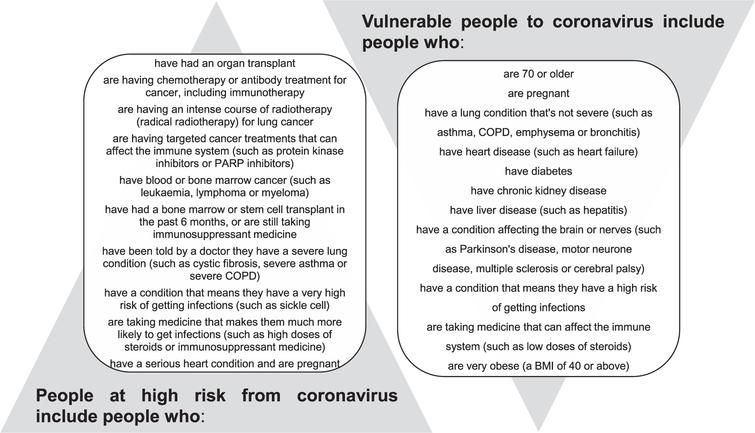 Vulnerable and high-risk people to coronavirus (adapted from [9]).