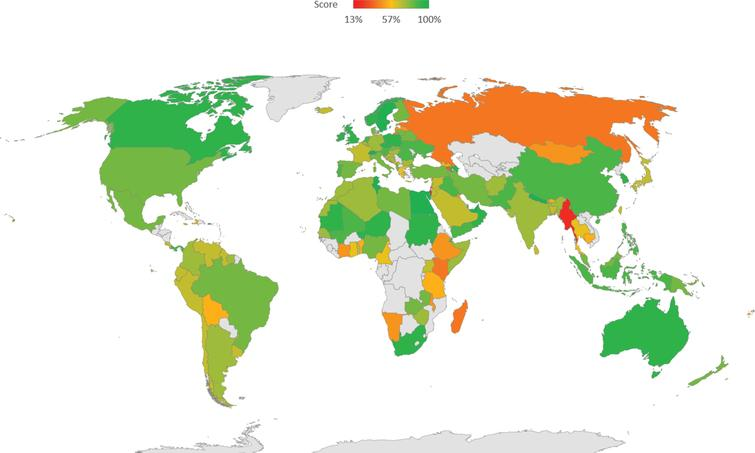 Survey score distribution by country.