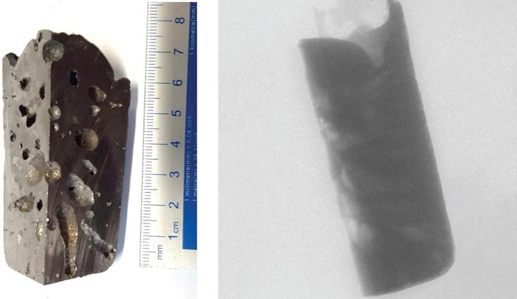 Steel column workpiece and representative radiograph that is used throughout the analysis.