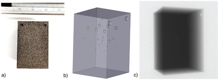 a) Titanium cuboid workpiece, b) CAD of object showing placement of voids and c) representative radiograph.