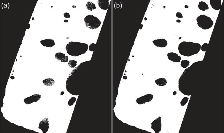 (a) Otsu and (b) MRF results for the steel column CT image shown in Fig. 3(a).