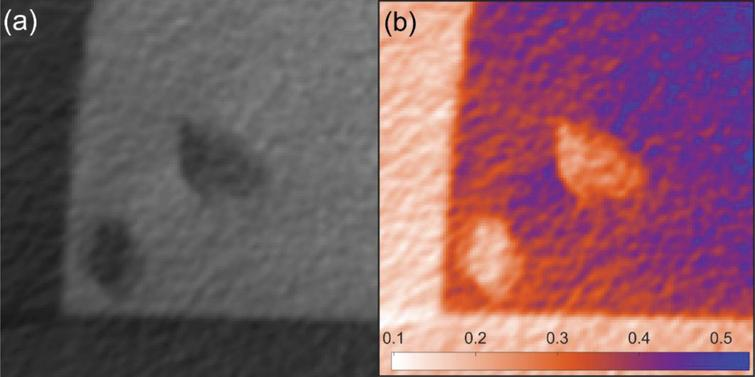 (a) A CT image from steel column showing corner and voids with poor contrast, and (b) its grey value distribution highlighted by a red/blue colour transform.