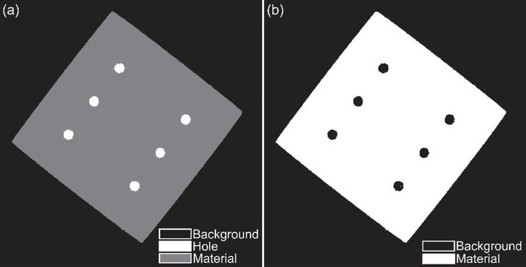 For the titanium cuboid CT image in Fig. 7(a): (a) MRF segmentation output with 3 labels and the constraint to prevent forming of an imaginary layer of hole pixels on object boundary, and (b) final segmentation of the titanium cuboid.
