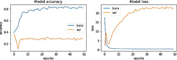 An example of an overfitted accuracy/loss curve while training DenseNet201 without data augmentation.